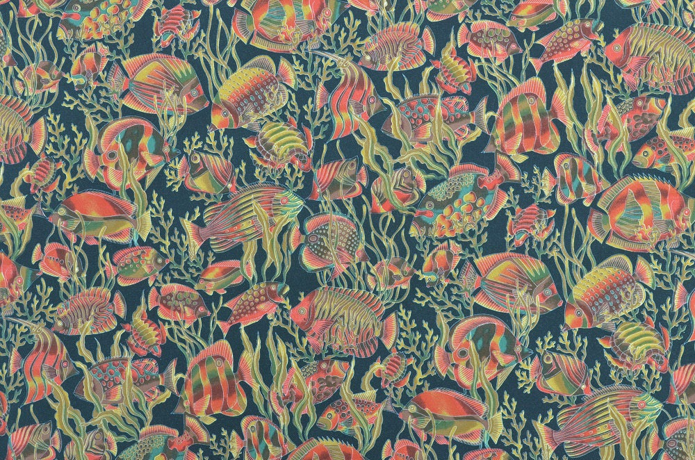 Cotton quilting fabric tropical fish fabric rust and for Fish fabric for quilting