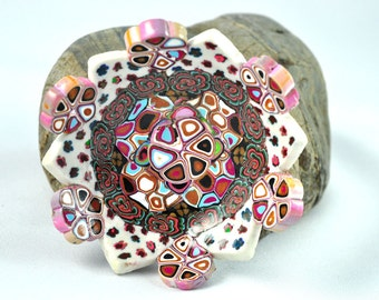 Bowl in Pinks, Blues, and Browns, Klimt inspired, Geometric Polymer Clay