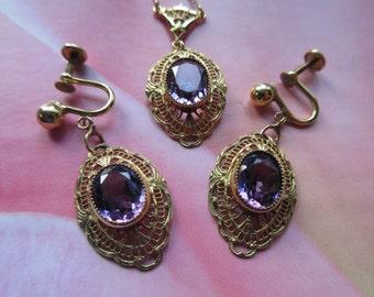 Vintage Deco Set, Lavaliere with Matching Earrings, Vintage Wedding, Deco Earrings, Estate Jewelry, Purple Wedding, Downton Abbey Jewelry
