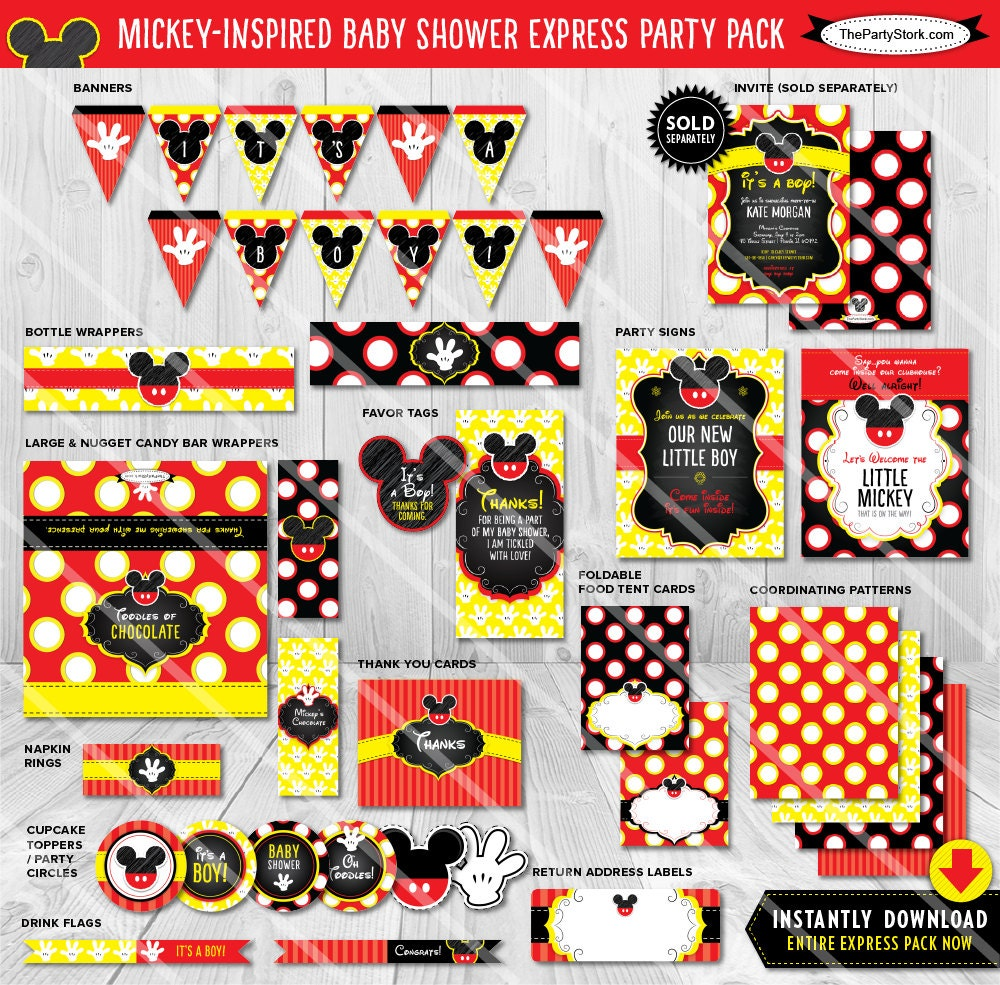 mickey mouse baby shower decorations printable party package