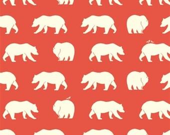 Bear Fabric - Birch Organic Cotton Fabric - Bear Camp Poplin - Bear Hike Coral