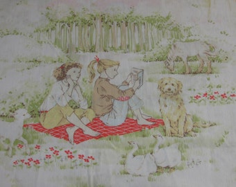 Vintage Frank Nelson Designs 1981 Twin Flat Sheet/Material - Young Girls With Horse, Dog, Picnic, Apple Picking  - For Girl's Room