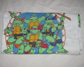 Vintage Teenage Mutant Ninja Turtles TMNT Twin Flat Sheet/Material - 4 Turtles - Bibb Co. Cotton/Polyester Sheet