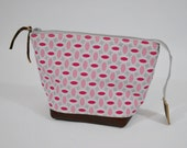 Fabric & Leather Open-Wide Zipper Bag, Accessory, Cosmetic, Storage Pouch