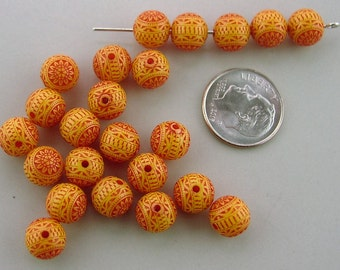 Vintage yellow and red folk art round plastic bead - 23 pcs. 8 mm.