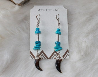 Sleeping Beauty & Kingman Turquoise with real Coyote claws Sterling silver earrings