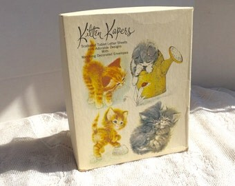 Vintage Kitten Kapers White Envelopes Orange Kittens and Red Birds Boxed Set