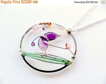 FALL SALE 20% Spring boho necklace, purple butterfly pendant, resin jewelry, pastel jewelry, wire round pendant