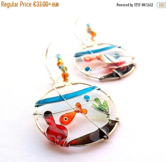 Pet goldfish earrings, glass fish bowl earrings, colorful dangle earrings, wearable art jewelry