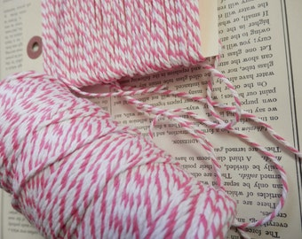 BAKERS TWINE Pink and White 10 yds Cotton Strong