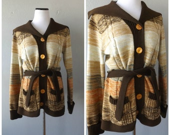 Space Dye Cardigan Sweater Vintage 70s Button Down Belted Womens Jacket Coat Size M/L Medium Large Hippie Boho Long Cardigan 1970s Hipster