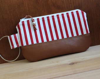 Red and White Striped Canvas Wristlet Clutch with Tan Faux Leather