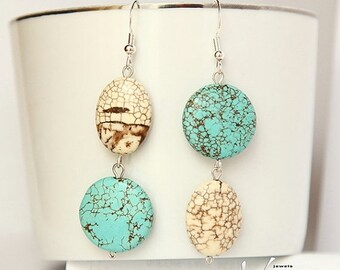 SALE Earrings with beautiful turquoise gemstones and sterling silver, modern asymmetrical