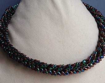 Coiled Serpent Magatama Kumihimo Necklace