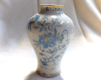 French Vintage Haviland Limoges Porcelain Nankin Pattern Aqua Blue & Gold Floral Vase (C068)