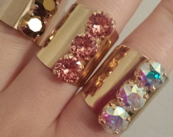 Swarovski 3 crystals adjustable gold filled rings