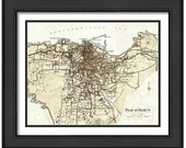 MAP of BEIRUT Lebanon in a Vintage Grunge Weathered Antique style