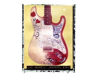 Jimi Hendrix guitar art print / music gift / rock n roll art / music room decor / guitar gift / man cave art