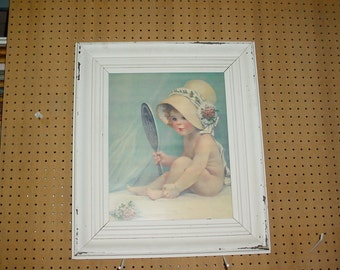Girl Playing Dress up Print in Shabby Frame with Glass