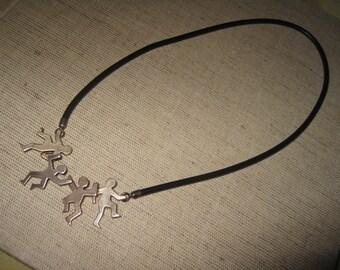 vintage necklace silver 925 caoutchouc modernist design good condition