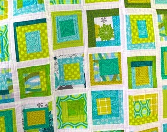 Modern Log Cabin QUILT PATTERN in 6 sizes Instant Download!