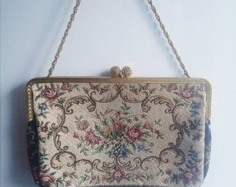 ON SALE Antique 1930s flapper clutch purse with embroidery