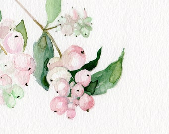 Pink plant, Botanic ORIGINAL PAINTING watercolor, garden-lovers gift