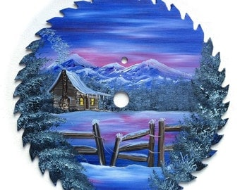 Hand Painted Saw Blade Mountain Winter Scenery with Log Cabin w Fence