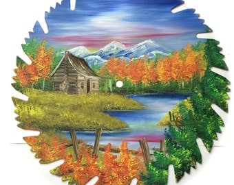 Hand Painted Saw Blade Mountain Scenery with Log Cabin Fall and Fence