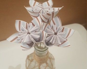 MOVING SALE: Brown, White, and Blue Striped Trio Bouquet of 3 stemmed flowers