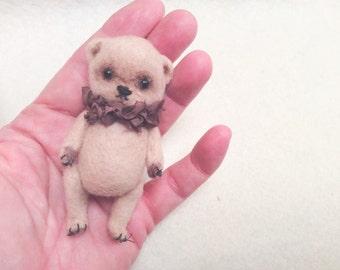 Needle felted bear-Collectible bear-Felted miniature bear-Toys for Blythe-Vintage teddy bear-Artist Teddy Bear- Wool Roving- Needle Felting