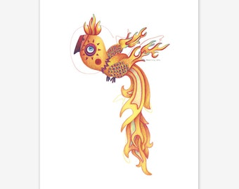 Phoenix Mythical Creature Print A5