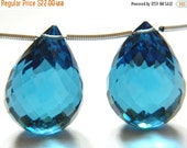 20%off. Matched Pair AAA London Blue Quartz Faceted Drops Briolette Size 21x15mm Approx.