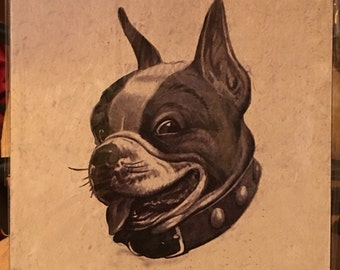 Vintage  Boston Terrier  Print Decoupaged on Wood