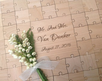 96 Large 2 inch Mixed Grain pieces CUSTOM Wedding Guest Book Puzzle
