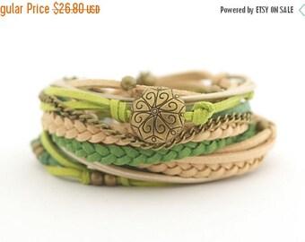 ON SALE Autumn trends, Green Sage Olive Wrap Bohemian Bracelet, Cream Beige Hippie Jewelry, Hippie Gypsy Bracelet, boho chic