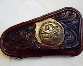 IN STOCK Leather Pistol Case with Hand Tooled Western Floral Pattern with State of Texas and Star, Custom Pistol Case, Zippered Pistol Case