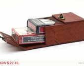 Leather Poker Playing Card Deck Box Holds Two Decks Texas Hold 'Em Black Jack