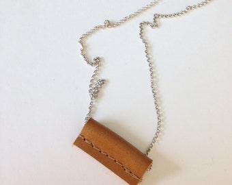 Necklace TUBE 'Cognac' Silver