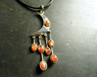 Trailer, moon, sunstone, sterling silver, 7 stones, orange, silver