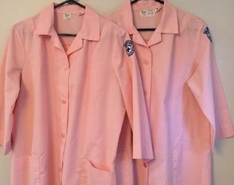 Vintage Pink Lab Coats Volunteer Concord Hospital Association Shane Uniform