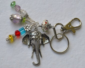 Colorful Beaded Key Chain with Elephant
