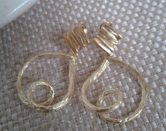 Modern, Minimalist,  Roll Heart Dangle Earrings with Matte Gold Plate and Stud/Post, Jewelry