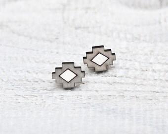Tribal earrings Geometric stud earrings Gray post earrings bridesmaid earrings Ear Posts Valentine's Day Gift Mom Gift