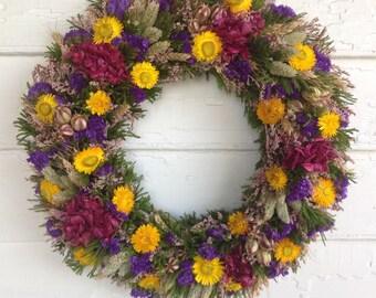 Pink, Purple, Yellow Dried Flower Spring Wreath