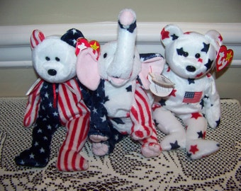 """Beanie Babies lot of 3 patrotic elephant """"righty""""America and Spangl bears."""