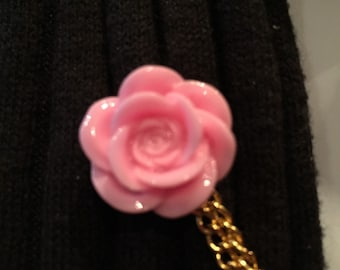 Sweater Pins: Pale Pink Rose with Double Gold Chain