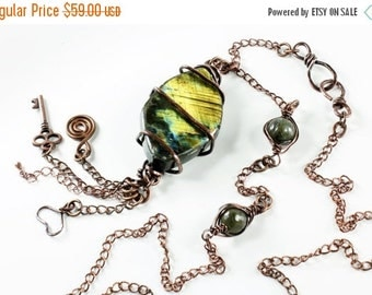 SALE 30% OFF, Golden Flash Labradorite Necklace, Copper Wire Wrap, forged copper wire, long original artisan necklace, semiprecious stones,