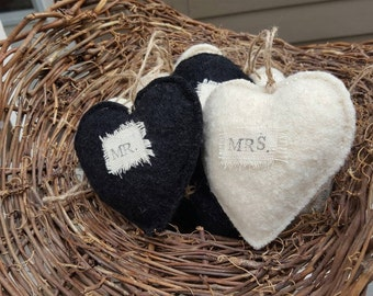 Mr. & Mrs. Recycled Wool Hearts