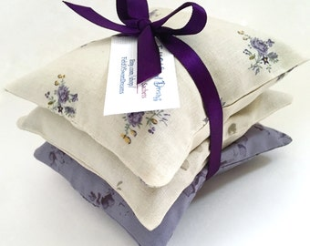 Organic Lavender Sachet Set made from 100 Percent Cotton